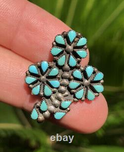 Vtg Zuni STERLING SILVER Petit Point Turquoise FLOWER Cluster Brooch Pin Pendant