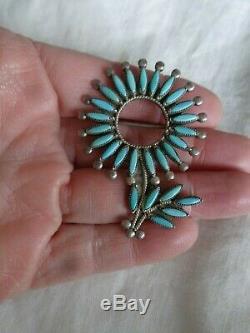 Vtg Zuni Silver Floral Flower Turquoise Petit Point Pendant Pin