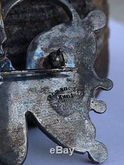 Vtg Zuni Sterling Silver Kingman Turquoise Butterfly Pin Pendant J Romancito