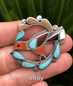 Vtg Zuni Sterling Silver Mosaic Multi Stone Inlay Hummingbird Pin Brooch Pendant