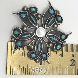 Vtg Zuni Sterling Silver Petit Point Turquoise Pin Pendant Signed HBC 10.7g