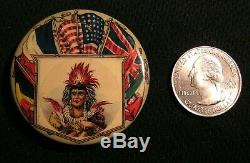 WWI 1 3/4 ALLIES FLAG IORM IMPROVED ORDER OF RED MEN PIN Native American Indian