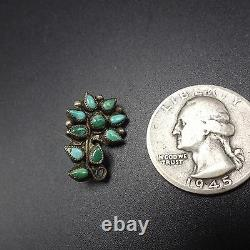 Wee Vintage ZUNI Sterling Silver & Green Turquoise Petit Point FLOWER PIN/BROOCH