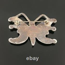 Winnie Wallace Native American Zuni Silver Stone Inlay Butterfly Pin Brooch