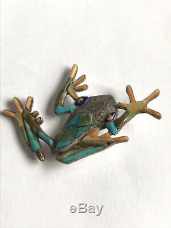Wonderful Vtg Native American Sterling Turquoise Spiny Oyster Mop Frog Pin
