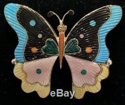 XL Large Zuni Sterling Silver Turquoise Shell Jet Butterfly Pin Pendant
