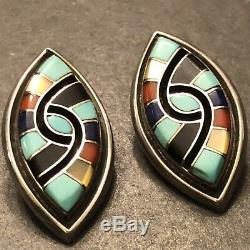 ZUNI Amy Quandelacy STERLING Silver Inlaid Turquoise Lapis Coral Clip Earrings
