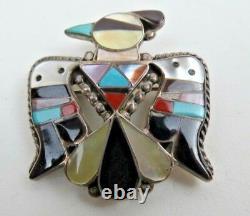 ZUNI Mosaic Inlay Thunderbird Sterling Pin Pendant by Bobby & Corraine Shack