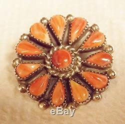 ZUNI Phyllis Sterling Silver Beautiful Spiny Petit Point Brooch/Pendant Signed