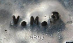 ZUNI V. M. B. STERLING DOMED TURQUOISE HANDMADE Vintage CLUSTER PIN Estate