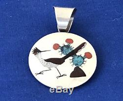 Zuni Albert & Dolly Banteah Pendant, Sterling Silver Turquoise Inlay Road Runner