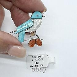 Zuni Blue Bird Pin Pendant Carved Multi-stone Inlay by S Lonjose 1 Sterling