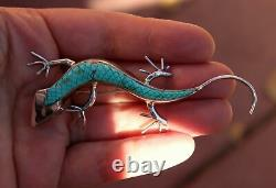 Zuni Carved Cross Hatch Inlay Turquoise Stone Sterling Lizard Large Pin Pendant