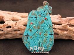 Zuni Carved Turquoise Corn Maiden Pendant and Pin by Chad Quandelacy
