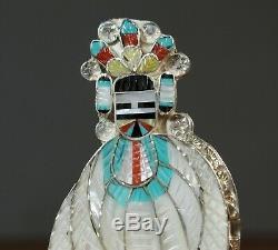Zuni Corn MAIDEN Kachina Pendant Pin brooch Quality Inlay Eldred Martinez