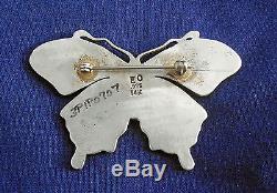 Zuni EMERY OHMSATTE STERLING Silver Mokume 14K GOLD Accents Ladys Butterfly Pin