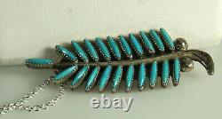 Zuni Evans WAATSA Pendant Pin Necklace STERLING NEEDLEPOINT TURQUOISE Feather