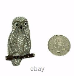 Zuni Handmade Mother of Pearl Sterling Silver Owl Pendant/ Pin