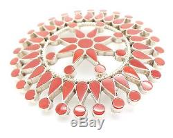 Zuni Handmade Sterling Silver Coral Petit Point Inlay Pendant/Pin -F. V Bowannie