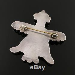 Zuni Handmade Sterling Silver & Mosaic Inlay Knifewing Brooch Pin