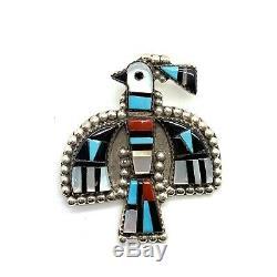Zuni Handmade Sterling Silver Multi-Stone Bird Pendant/Pin Herbert Cellicion