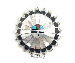 Zuni Handmade Sterling Silver Multi-stone Inlay Sunface Pendant/Pin Abel Soseehh