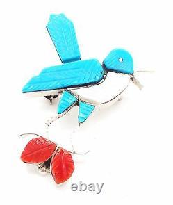 Zuni Handmade Sterling Silver Multistone Inlay Blue Bird Pendant/Pin S Lonjose