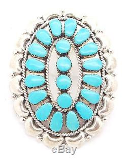 Zuni Handmade Sterling Silver Turquoise Big Petit Point Cluster Pendant/Pin JV