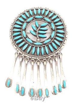 Zuni Handmade Sterling Silver Turquoise Needlepoint Pendant/Pin Floyd Etsate