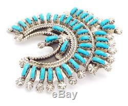 Zuni Handmade Sterling Silver Turquoise Needlepoint Pendant/Pin- K. Leekity