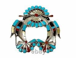 Zuni Handmade Sterling Silver Water Bird Inlay Pin/Pendant -Lynnette Lawakete