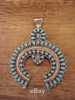Zuni Indian Jewelry Handmade Turquoise Cluster Pin/Pendant by Maryann Chavez