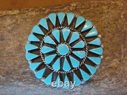 Zuni Indian Jewelry Handmade Turquoise Cluster Pin/Pendant by Merlinda Chavez
