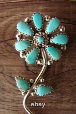 Zuni Indian Sterling Silver Turquoise Flower Pin/Pendant by K. Quam