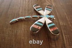 Zuni Indian Sterling Silver Turquoise Inlay Dragonfly Pin/Pendant! A. Ahiyite