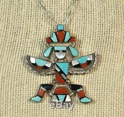 Zuni Inlay Knifewing Pendant Pin Turquoise Coral Leonard Martza