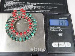 Zuni LF Vintage Sterling Silver and Coral Wreath Petite Point Brooch/Pendant