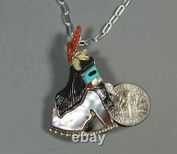 Zuni Long Hair Rain Dancer Kachina Inlay Pendant Pin Andrea Lonjose