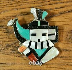 Zuni Long Horn Kachina large Pendant Pin brooch Inlay Eldred Martinez