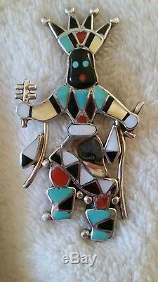 Zuni Lynnette Laiwakete Sterling Silver Inlaid Apache Crown Dancer Pin Pendant