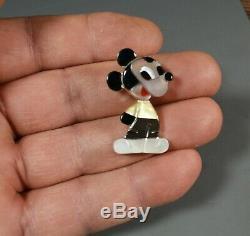 Zuni MICKEY MOUSE Pin Pendant Paula Leekity inlay Zunitoons Zunitoon