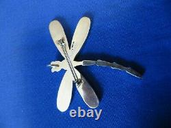 Zuni Multi Stone and Sterling Silver Dragonfly Pendant & Pin Angus Ahiyite