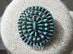 Zuni NM Turquoise Norman J Virginia Hooee Petit Point Cluster Brooch Pin Pendant