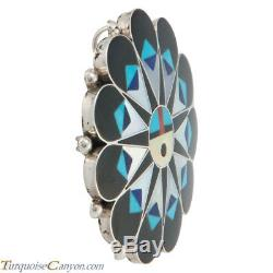 Zuni Native American Turquoise Inlay Sunface Pin Pendant by Gasper SKU#230331