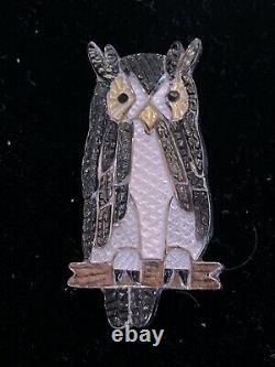 Zuni Pablita Quam Great Horned Owl pin/pendant sterling silver