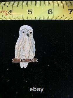 Zuni Pablita Quam Snowy Owl Pin/Pendant Sterling Silver