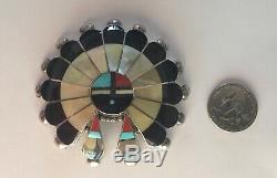 Zuni Pauline Lonjose Inlaid Sunface Pin/Pendant