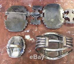 Zuni Pawn Multi Inlay Knifewing Concho Belt Bracelet Ring Pin Set Tom Weahkee