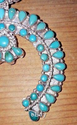 Zuni Petit Needlepoint Royston Turquoise Silver Naja 1970's Pendant Pin FS