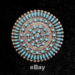 Zuni Petit Point Pendant/Pin by Connie Seowtewa, Sterling Silver & Turquoise